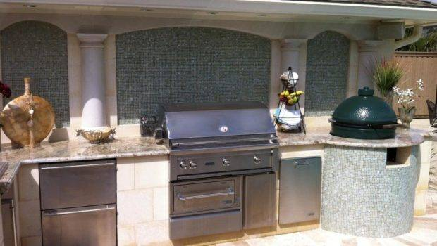 Outdoor Kitchens Gray Photos Neutral Pool Kitchen
