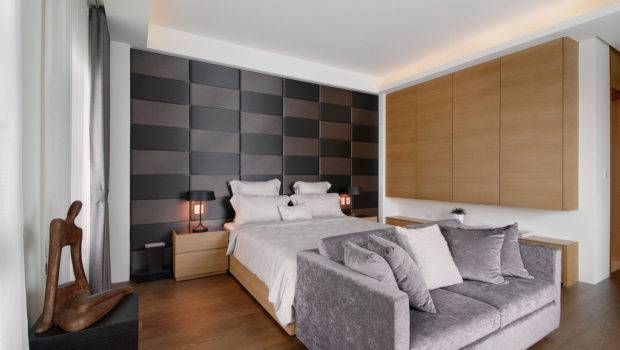 Padded Headboard Feature Wall Has Been Created Using Simple