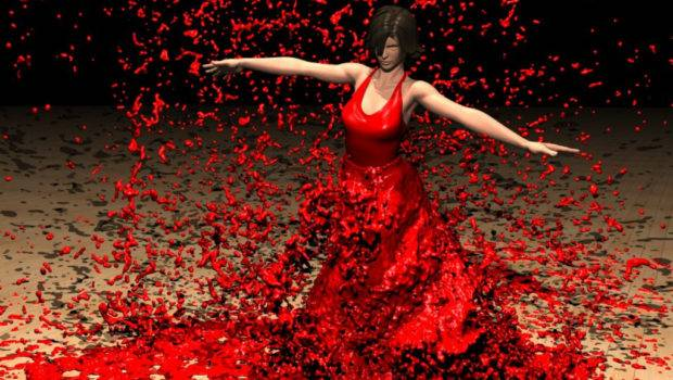 Painting Man Suit Woman Red Dress Dancing Beach