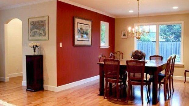 Painting Small Dining Room Merlot Red Accent Wall Color