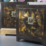 Pair Chinese Lacquered Cabinets Stdibs