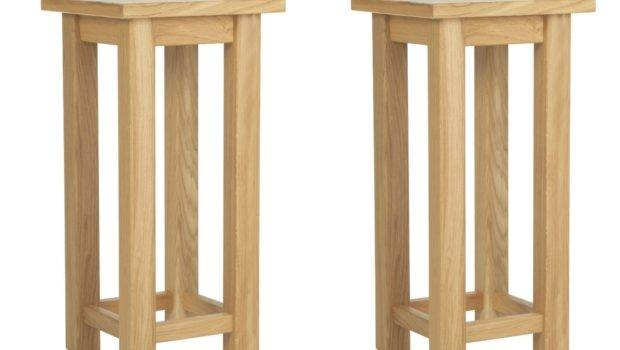 Pair Forest Tall Oak Lamp Bedside Tables