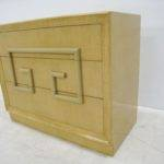 Pair Greek Key Linen Lacquered Cabinets Stdibs