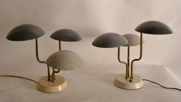 Pair Mushroom Shade Table Lamps Stdibs