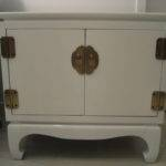 Pair Vintage White Lacquer Asian Bedside Tables Stdibs