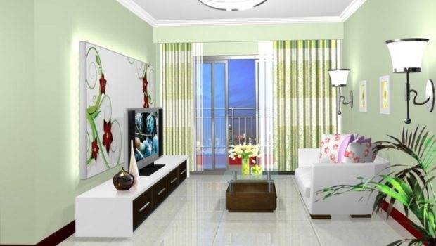Pale Green Walls Small Living Room Interior Design
