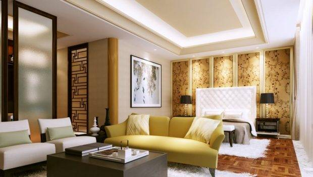 Panelled Feature Wall Bedroom China White Furry Rug Olpos Design