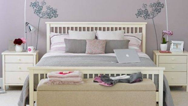 Pastel Purple Wall Color Beige Tufted Bench Nice