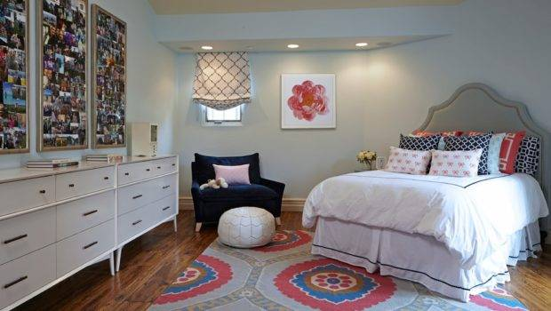 Perfect Teenage Girl Bedroom Layout Dark Blue Seating