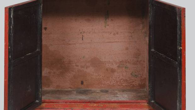 Period Chinese Red Lacquered Gilded Cabinet Century