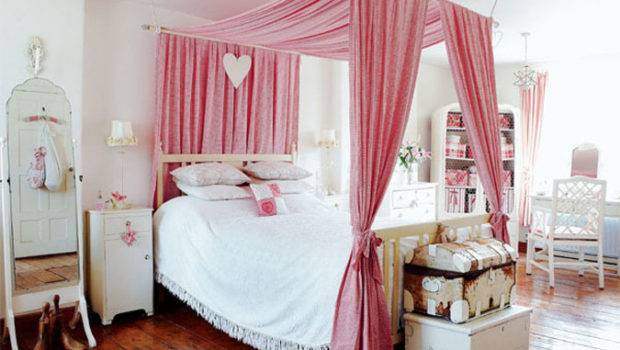 Pink Fabric Canopy Bed