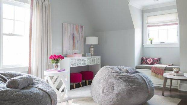 Pink Gray Teen Girl Bedroom Design Contemporary Room
