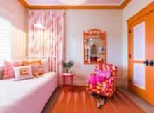 Pink Orange Bedroom Accents Transitional