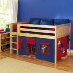 Play Fort Low Loft Bed Maxtrix Kids Blue Red Natural