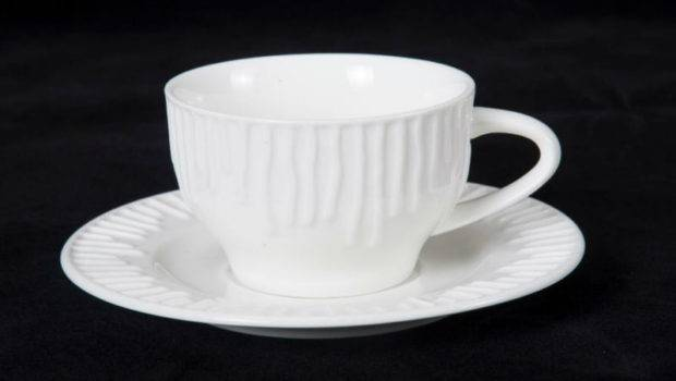 Porcelain Embossed Design Luxury Coffee Cup Saucer Set