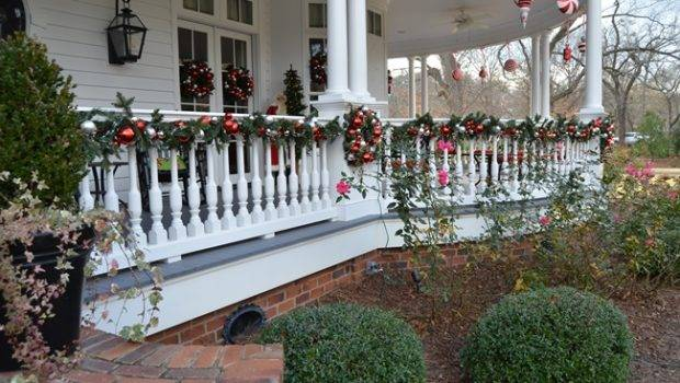Porch Rail Victorian Home Decorated Christmas