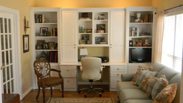 Positively Southern Living Room Office Built Cabinets