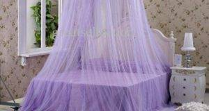 Purple Bed Canopy Girls Fairy Lights Above Beds