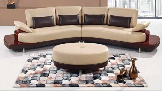 Quality Leather Sectional Sofa Large Round Ottoman Coffee Table