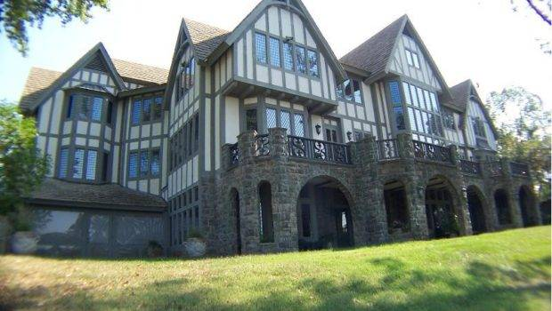 Rear Elevation English Tudor Manor Home