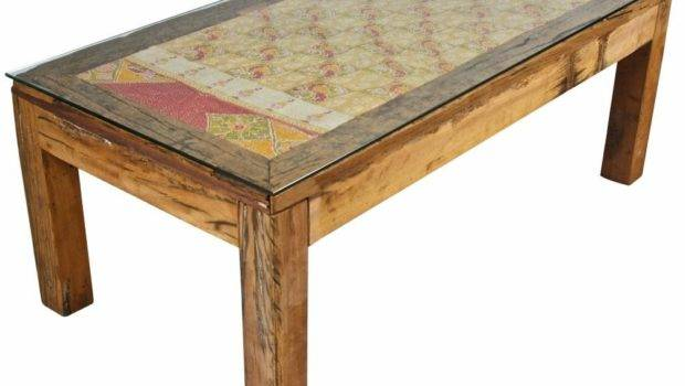 Recycled Wood Fabric Coffee Table Tables Interiors