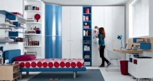 Red Blue Beech White Contemporary Teenagers Room