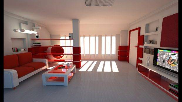 Red Color White Room