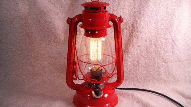 Red Electric Lantern Industrial Table Lamp Hanging Evasfeathers
