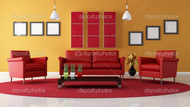 Red Orange Living Room Archideaphoto
