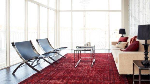 Red Overdyed Rug Contemporary Living Room