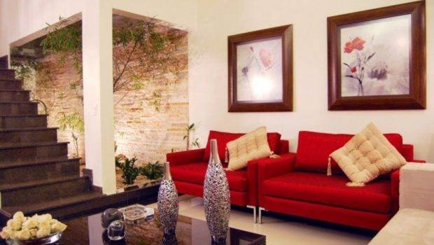 Red Sofa Wall Hangings Living Room Design Small Space