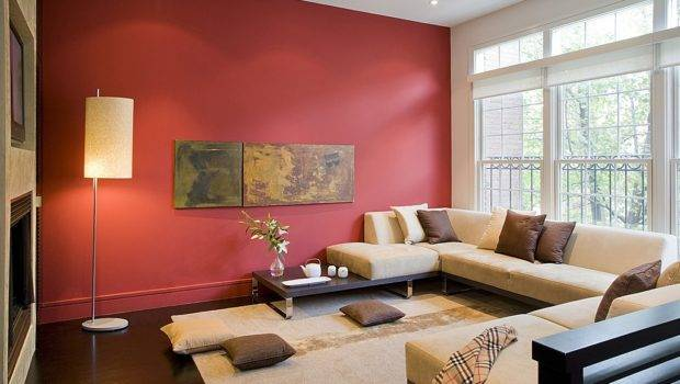 Red Wall Dark Floors Modern Low Slung Furniture Create