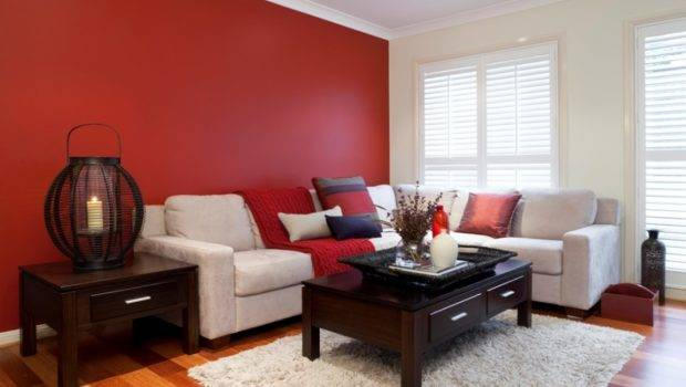 Red White Colored Living Room