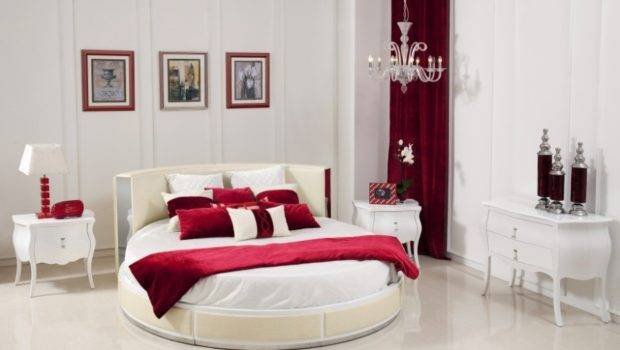 Red White Good Bedroom Colors Oval Bed Scheme Color