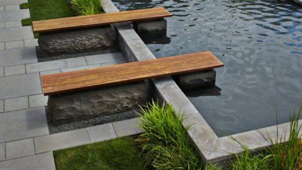 Relaxing Outdoor Home Decor Wood Bench Next Pool Combined