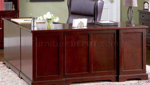 Rich Cherry Finish Classic Office Desk Storage Drawers