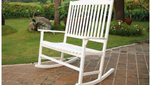 Rocking Chair Double White Seats Outdoor Furniture Seat Wood