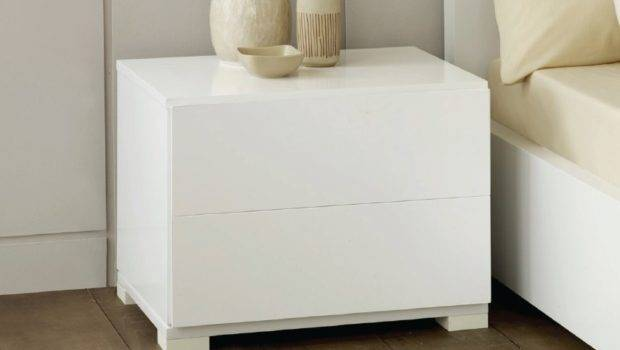 Roma Modern White Lacquer Nightstand