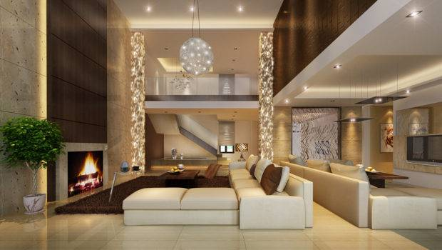 Room Model Luxury Architectural Living Fireplace