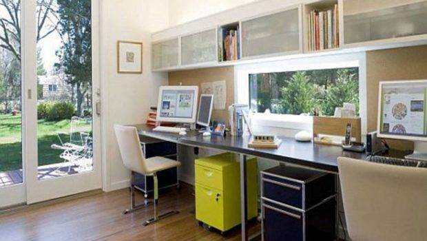 Room Two People Work Home Simulatneously Productively