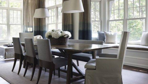Rooms Built Window Seat Gray Blue Ombre Drapes Wood Dining Table