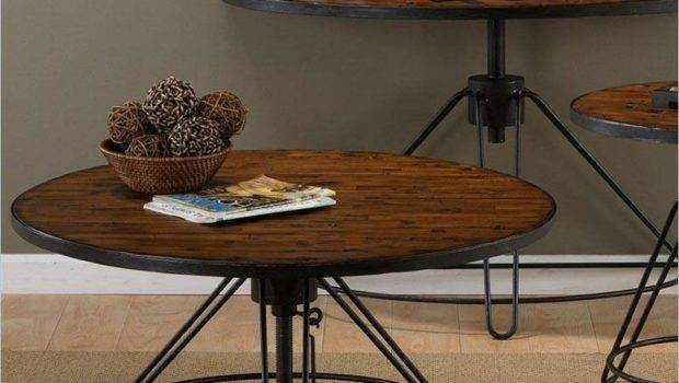 Round Adjustable Height Coffee Table Design