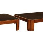 Rounded Square Wood Coffee Table Black Leather Top Sale