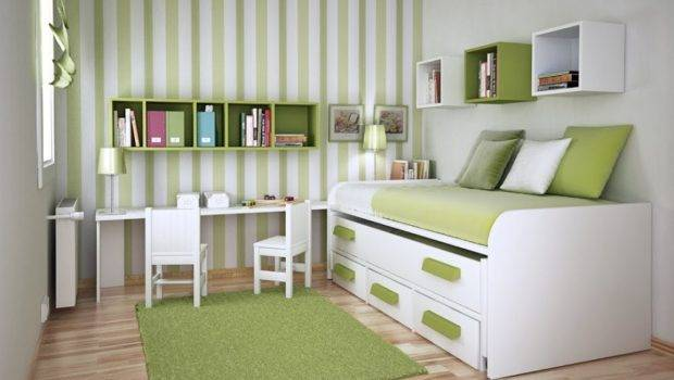 Rug Green Stripped Bedroom Interior Design Small Spaces