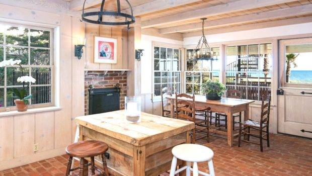 Rustic Country Kitchen Has Brick Floor Think