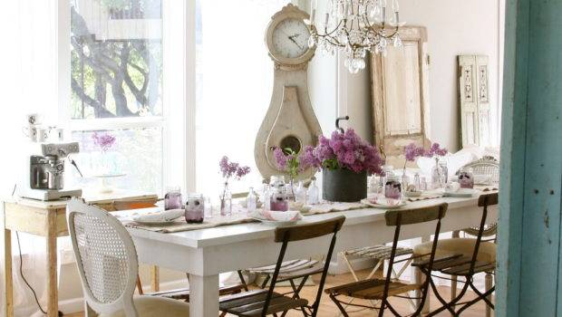 Rustic Dining Room Design Painted All White Interior