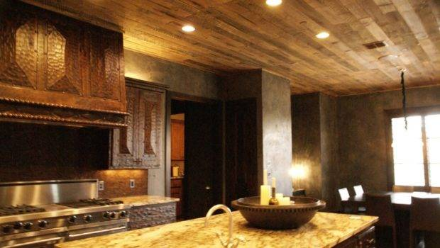 Rustic Distressed Wood Plank Ceiling House Pinterest