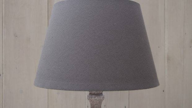 Rustic Tall Lamp Base Timeless Grey Linen Drum Shade