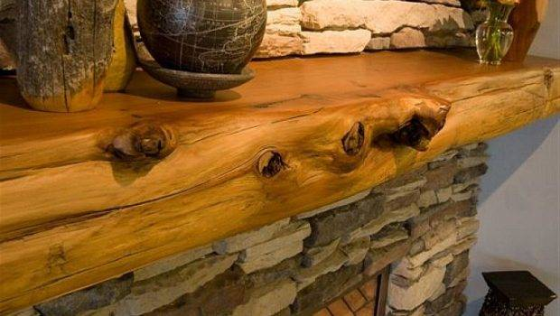 Rustic Wood Stacked Stone Fireplace Mantels Decorating Ideas