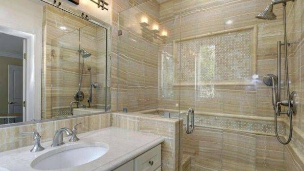 Sandstone Bathroom White Vanity Home Design Examples